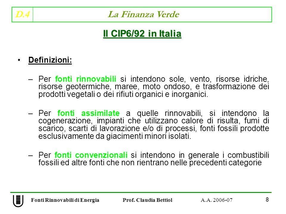 D.4 La Finanza Verde 59 Fonti Rinnovabili di Energia Prof.