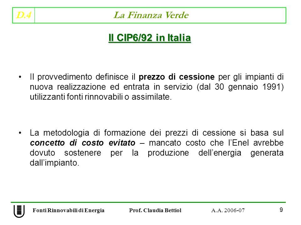 D.4 La Finanza Verde 30 Fonti Rinnovabili di Energia Prof.