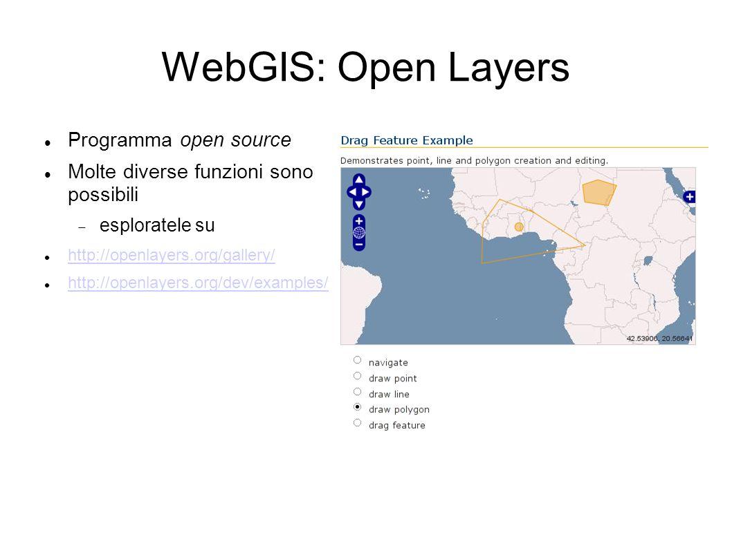 WebGIS: Open Layers Programma open source Molte diverse funzioni sono possibili esploratele su http://openlayers.org/gallery/ http://openlayers.org/de
