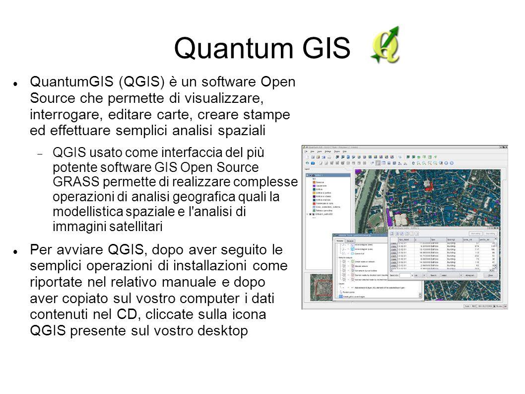 Quantum GIS QuantumGIS (QGIS) è un software Open Source che permette di visualizzare, interrogare, editare carte, creare stampe ed effettuare semplici