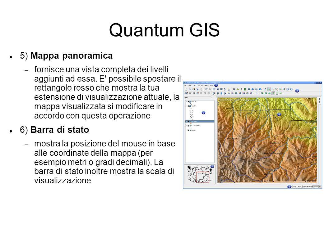 Quantum GIS 5) Mappa panoramica fornisce una vista completa dei livelli aggiunti ad essa. E' possibile spostare il rettangolo rosso che mostra la tua