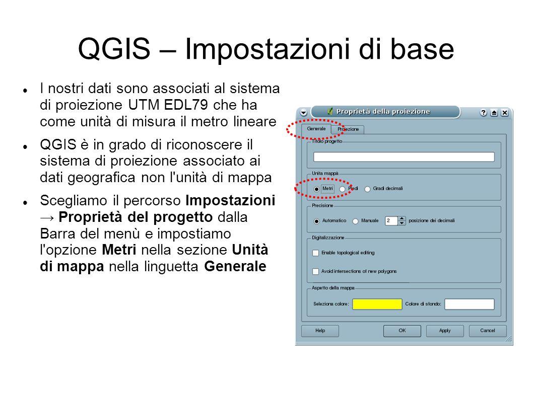 QGIS – Impostazioni di base I nostri dati sono associati al sistema di proiezione UTM EDL79 che ha come unità di misura il metro lineare QGIS è in gra