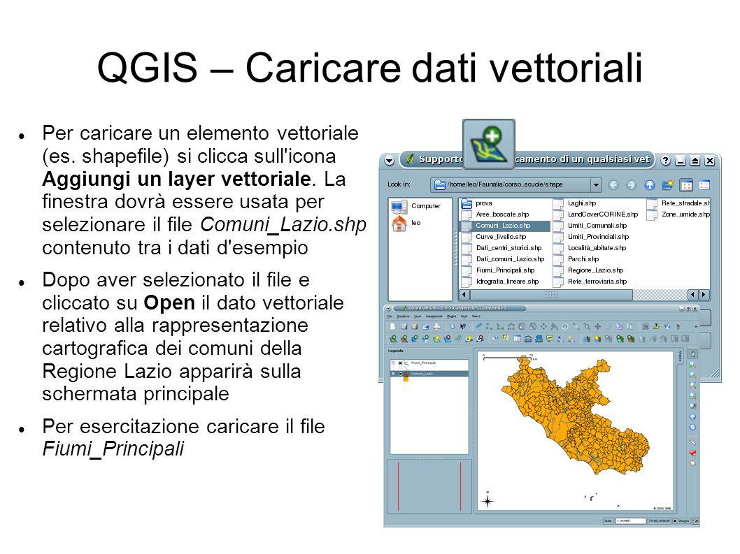 QGIS – Caricare dati vettoriali Per caricare un elemento vettoriale (es. shapefile) si clicca sull'icona Aggiungi un layer vettoriale. La finestra dov