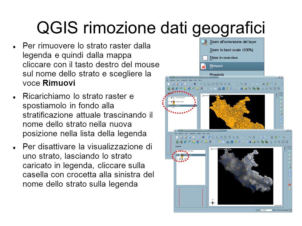 QGIS rimozione dati geografici Per rimuovere lo strato raster dalla legenda e quindi dalla mappa cliccare con il tasto destro del mouse sul nome dello