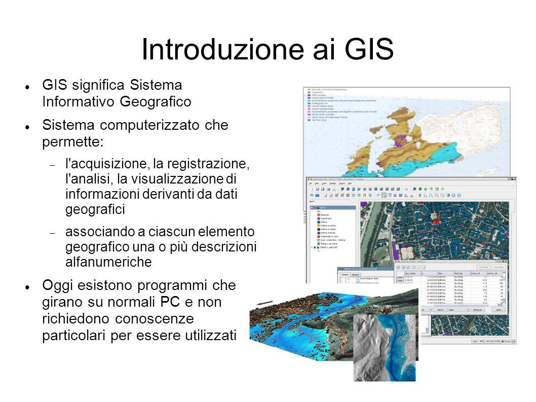 Introduzione ai GIS GIS significa Sistema Informativo Geografico Sistema computerizzato che permette: l'acquisizione, la registrazione, l'analisi, la