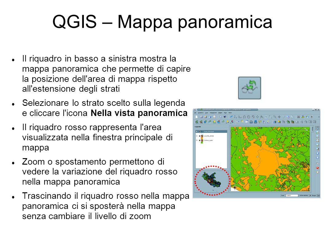 QGIS – Mappa panoramica Il riquadro in basso a sinistra mostra la mappa panoramica che permette di capire la posizione dell'area di mappa rispetto all