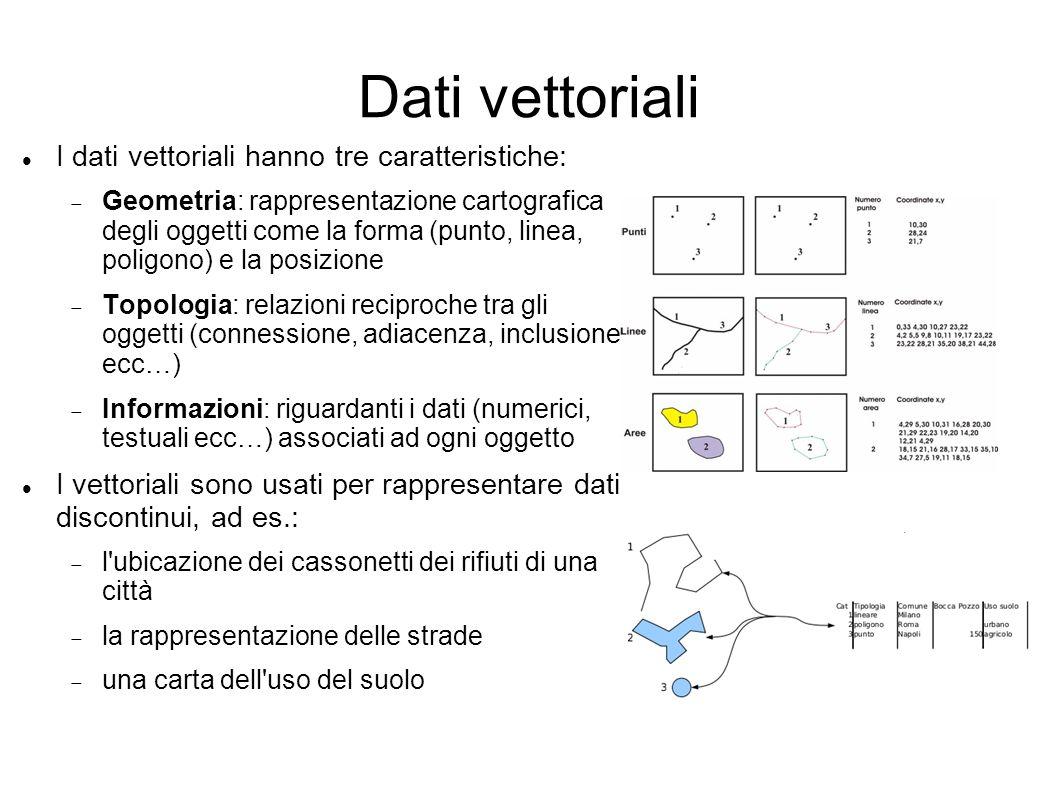 Dati vettoriali I dati vettoriali hanno tre caratteristiche: Geometria: rappresentazione cartografica degli oggetti come la forma (punto, linea, polig