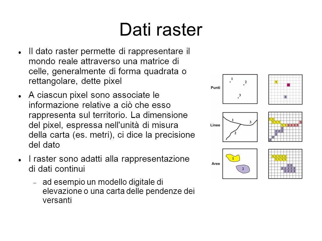 Dati raster Il dato raster permette di rappresentare il mondo reale attraverso una matrice di celle, generalmente di forma quadrata o rettangolare, de
