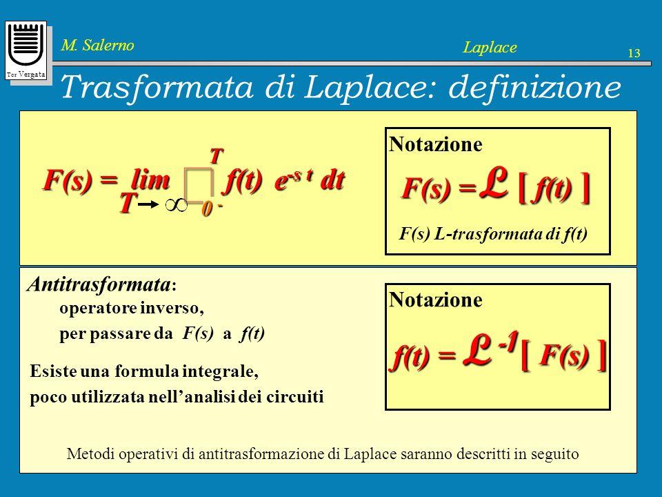 Tor Vergata M. Salerno Laplace 13 Trasformata di Laplace: definizione Trasformata di Laplace 1. Definizione 2. Trasformate elementari 3. Proprietà 4.