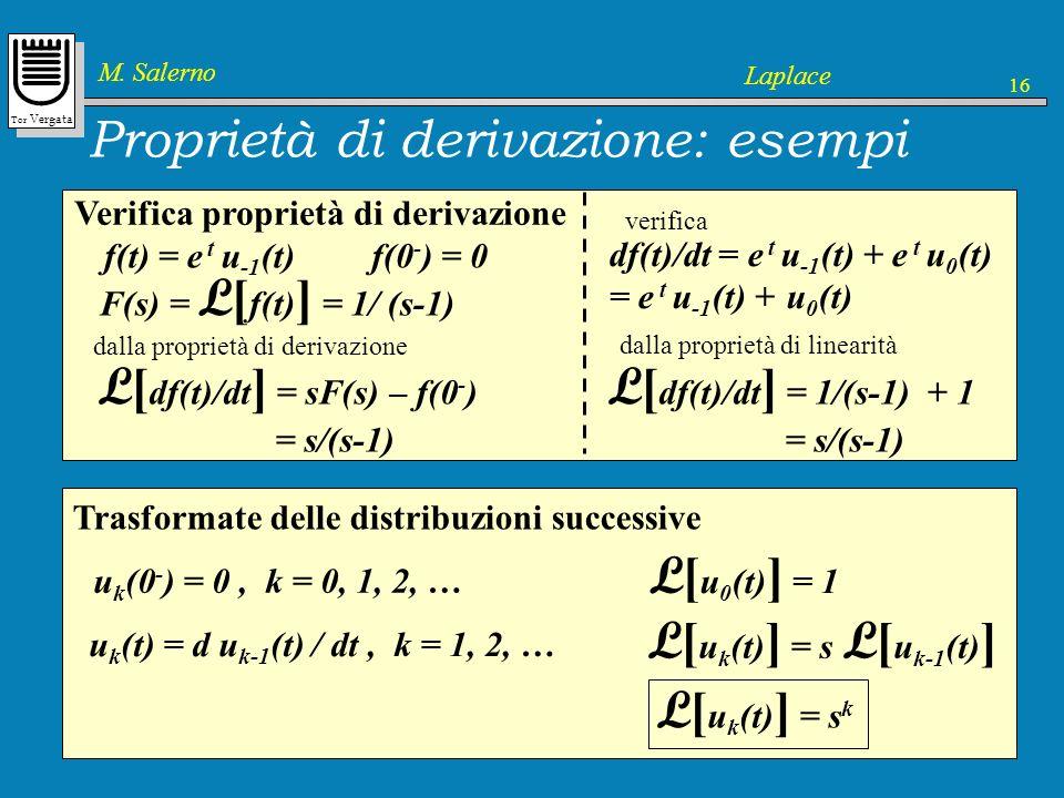 Tor Vergata M. Salerno Laplace 16 Proprietà di derivazione: esempi Verifica proprietà di derivazione f(t) = e t u -1 (t) F(s) = L [ f(t) ] = 1/ (s-1)