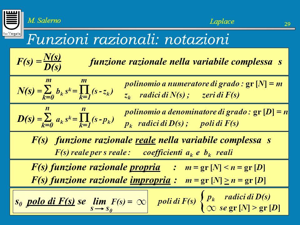 Tor Vergata M. Salerno Laplace 29 s 0 polo di F(s) se F(s) funzione razionale reale nella variabile complessa s k=0 D(s) = a k s k = (s - p k ) n k=1