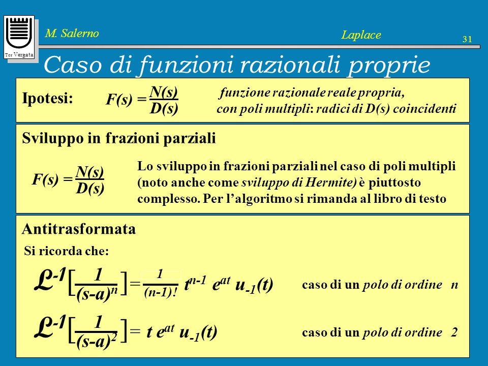 Tor Vergata M. Salerno Laplace 31 Caso di funzioni razionali proprie F(s) = N(s) D(s) Ipotesi: funzione razionale reale propria, con poli multipli: ra