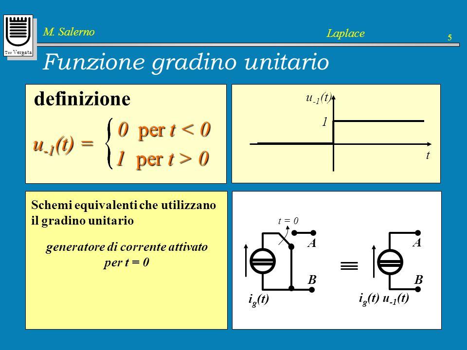 Tor Vergata M. Salerno Laplace 5 Funzione gradino unitario definizione u -1 (t) = 0 per t < 0 0 per t < 0 1 per t > 0 u -1 (t) t 1 il gradino unitario