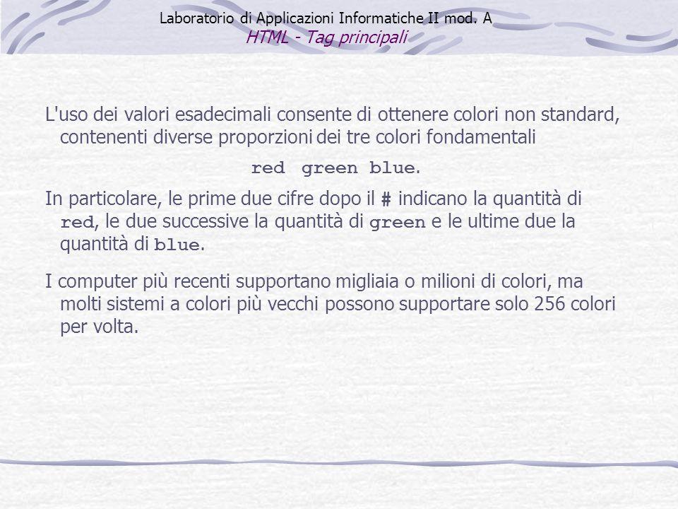 L'uso dei valori esadecimali consente di ottenere colori non standard, contenenti diverse proporzioni dei tre colori fondamentali red green blue. In p