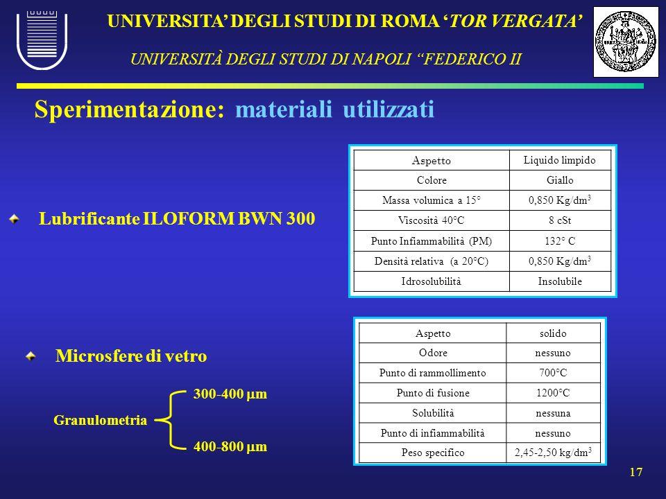 UNIVERSITA DEGLI STUDI DI ROMA TOR VERGATA UNIVERSITÀ DEGLI STUDI DI NAPOLI FEDERICO II 17 Sperimentazione: materiali utilizzati Lubrificante ILOFORM