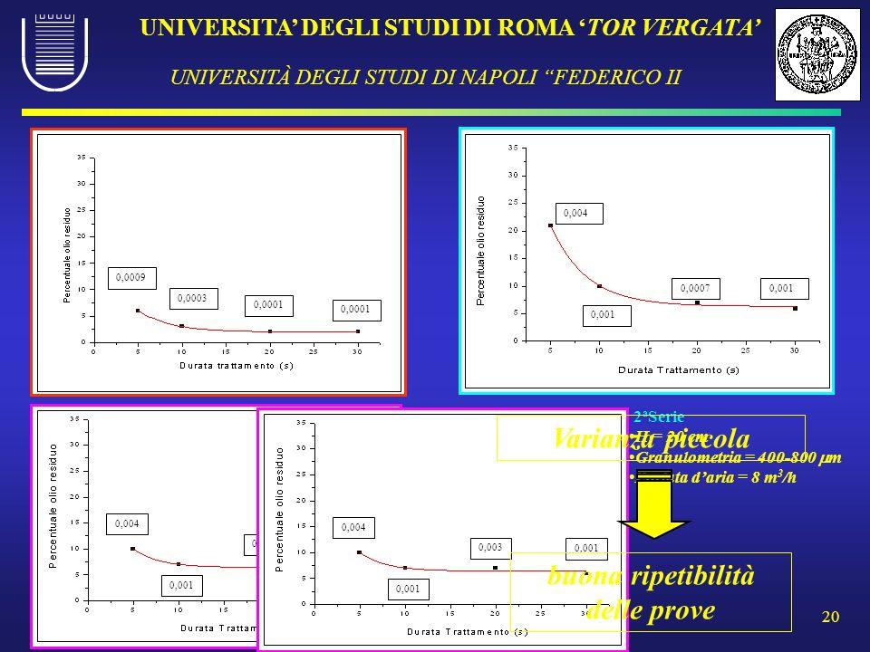 UNIVERSITA DEGLI STUDI DI ROMA TOR VERGATA UNIVERSITÀ DEGLI STUDI DI NAPOLI FEDERICO II 20 3 a Serie H = 20 cm Granulometria = 400-800 m Portata daria