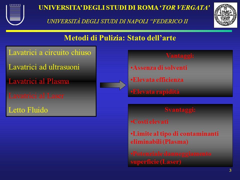 UNIVERSITA DEGLI STUDI DI ROMA TOR VERGATA UNIVERSITÀ DEGLI STUDI DI NAPOLI FEDERICO II 3 Metodi di Pulizia: Stato dellarte Lavatrici a circuito chius