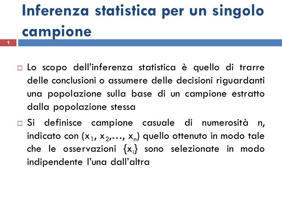 Inferenza statistica per un singolo campione 1 Lo scopo dellinferenza statistica è quello di trarre delle conclusioni o assumere delle decisioni rigua