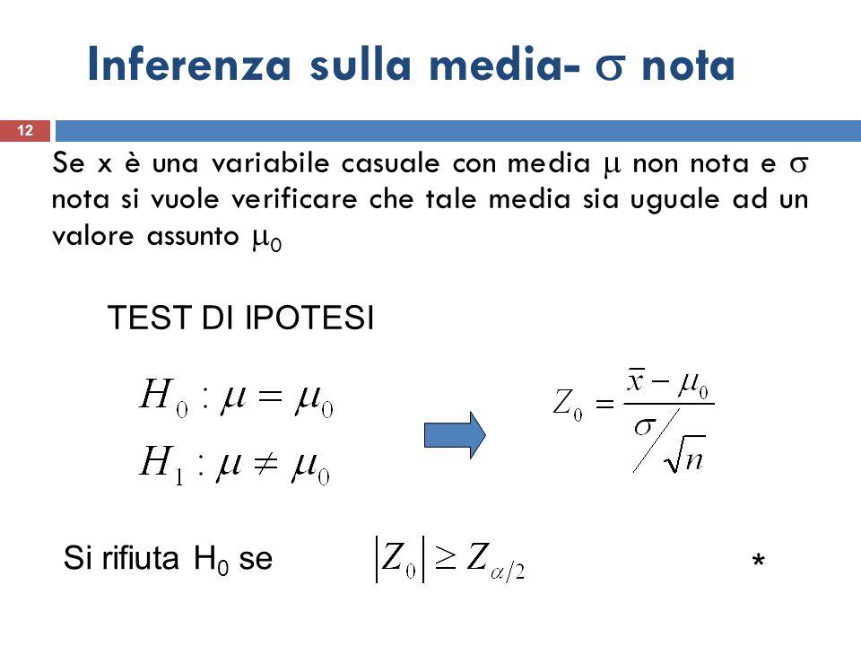 Inferenza sulla media- nota 12 Se x è una variabile casuale con media non nota e nota si vuole verificare che tale media sia uguale ad un valore assun