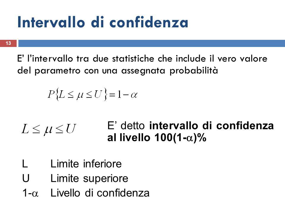 Intervallo di confidenza 13 E lintervallo tra due statistiche che include il vero valore del parametro con una assegnata probabilità E detto intervall