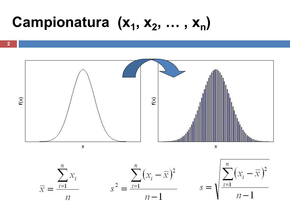 2 Campionatura (x 1, x 2, …, x n )