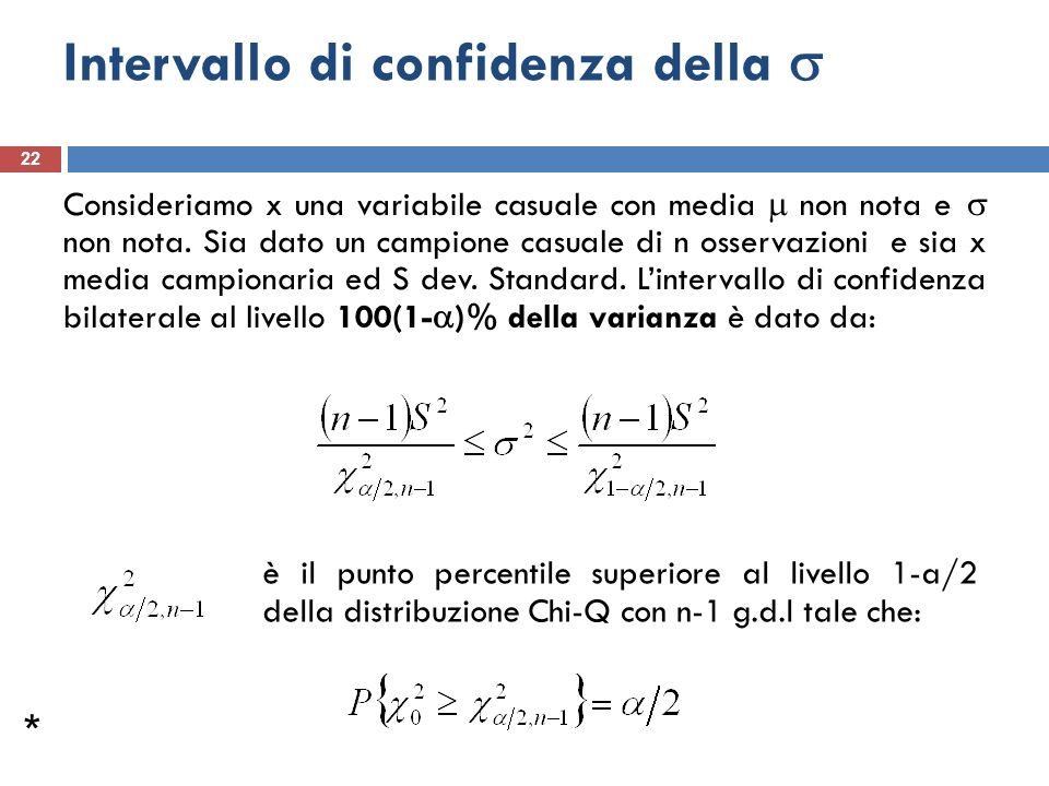 Intervallo di confidenza della 22 Consideriamo x una variabile casuale con media non nota e non nota. Sia dato un campione casuale di n osservazioni e
