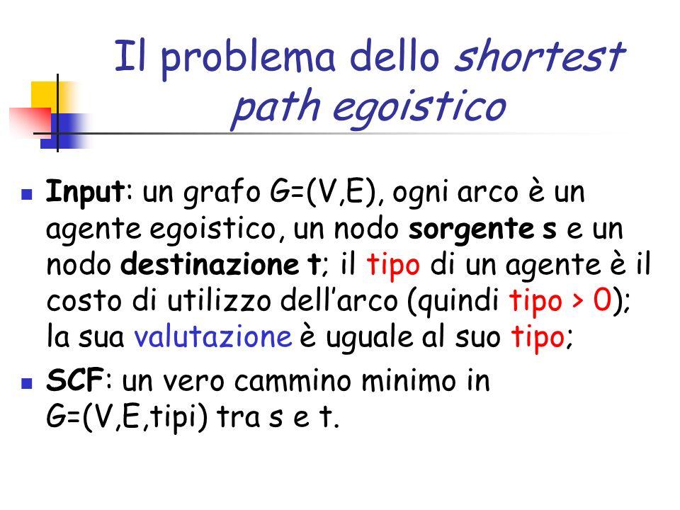 Il problema dello shortest path egoistico Input: un grafo G=(V,E), ogni arco è un agente egoistico, un nodo sorgente s e un nodo destinazione t; il ti