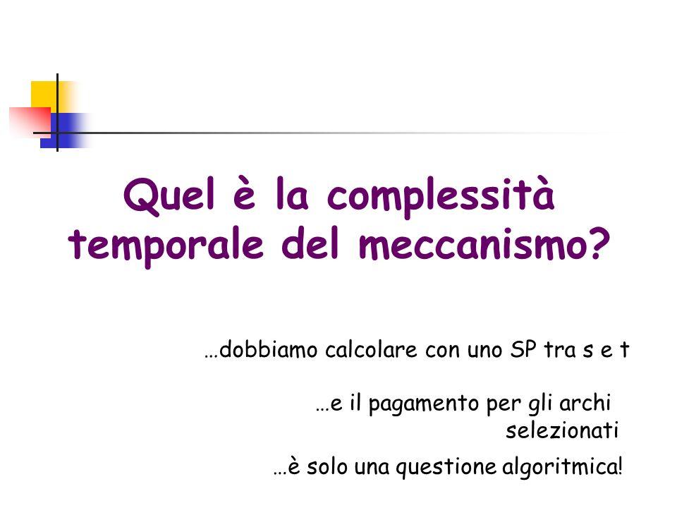 Quel è la complessità temporale del meccanismo? …dobbiamo calcolare con uno SP tra s e t …e il pagamento per gli archi selezionati …è solo una questio