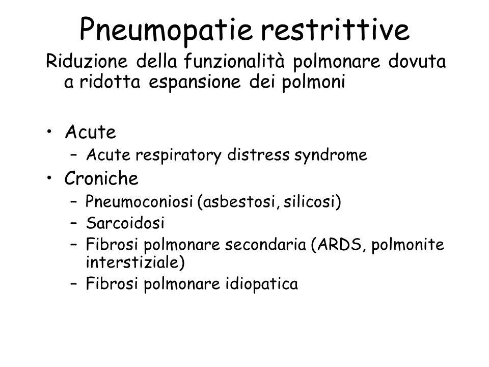 Pneumopatie restrittive Riduzione della funzionalità polmonare dovuta a ridotta espansione dei polmoni Acute –Acute respiratory distress syndrome Cron