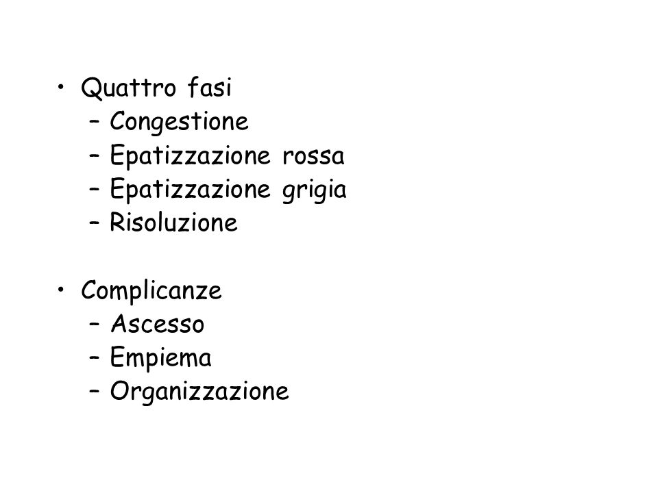 Quattro fasi –Congestione –Epatizzazione rossa –Epatizzazione grigia –Risoluzione Complicanze –Ascesso –Empiema –Organizzazione