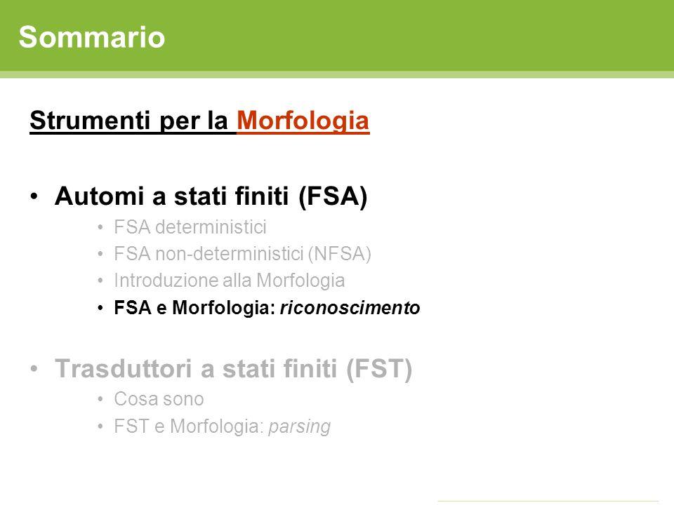 FSA: riconoscimento Un FSA può essere utilizzato per riconoscere se una parola è ammissibile in una lingua - Cosa serve.