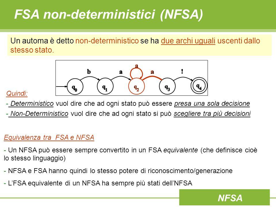 FSA non-deterministici (NFSA) Un tipo particolare di non-determinismo è quello causato dalla presenza di ε- transizioni (o jump arcs) ovvero da archi/transizioni non legati ad alcun simbolo ingresso.