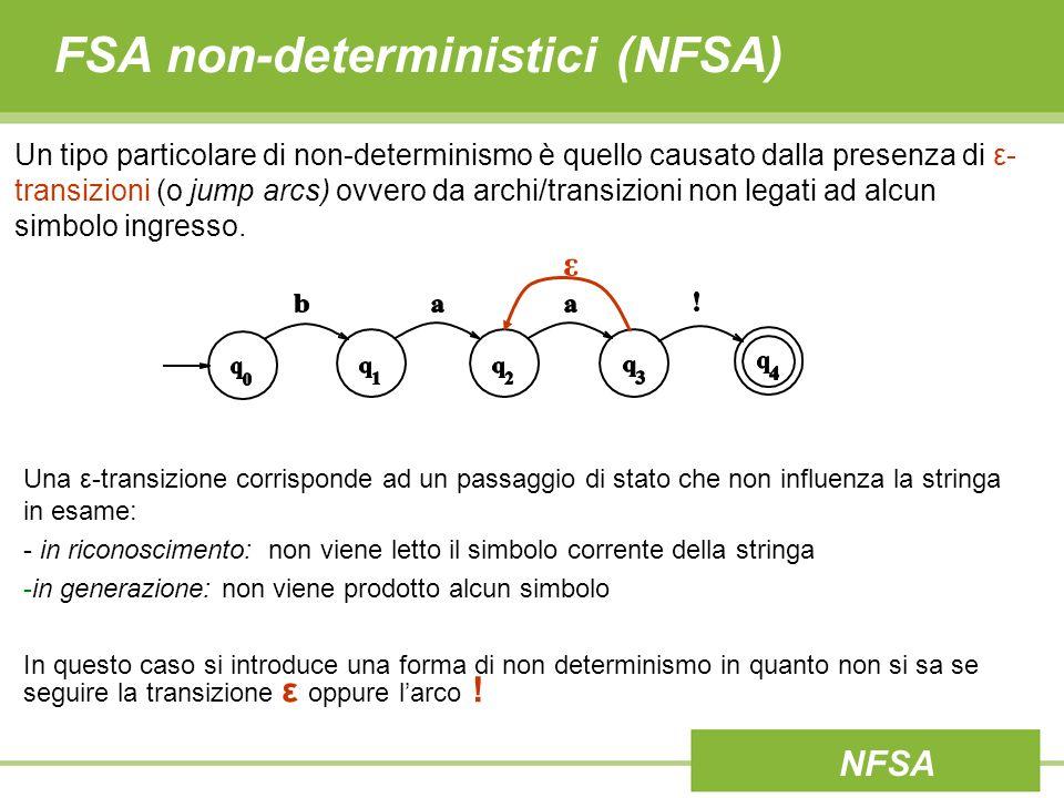 FSA non-deterministici (NFSA) Un tipo particolare di non-determinismo è quello causato dalla presenza di ε-transizioni (o jump arcs) ovvero da archi/transizioni non legati ad alcun simbolo ingresso.