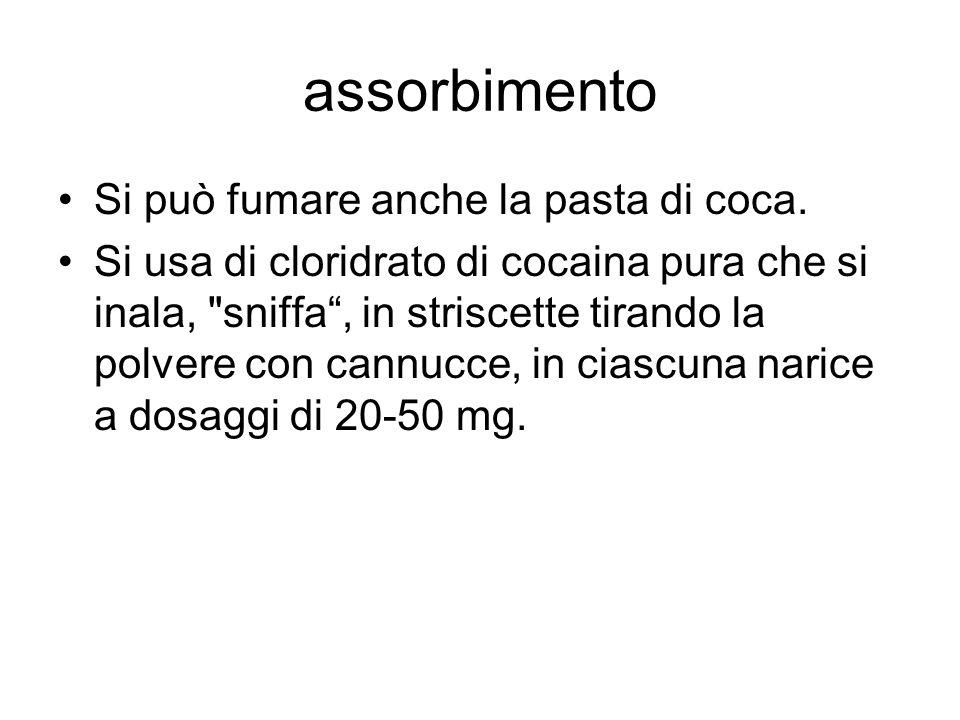assorbimento Si può fumare anche la pasta di coca. Si usa di cloridrato di cocaina pura che si inala,
