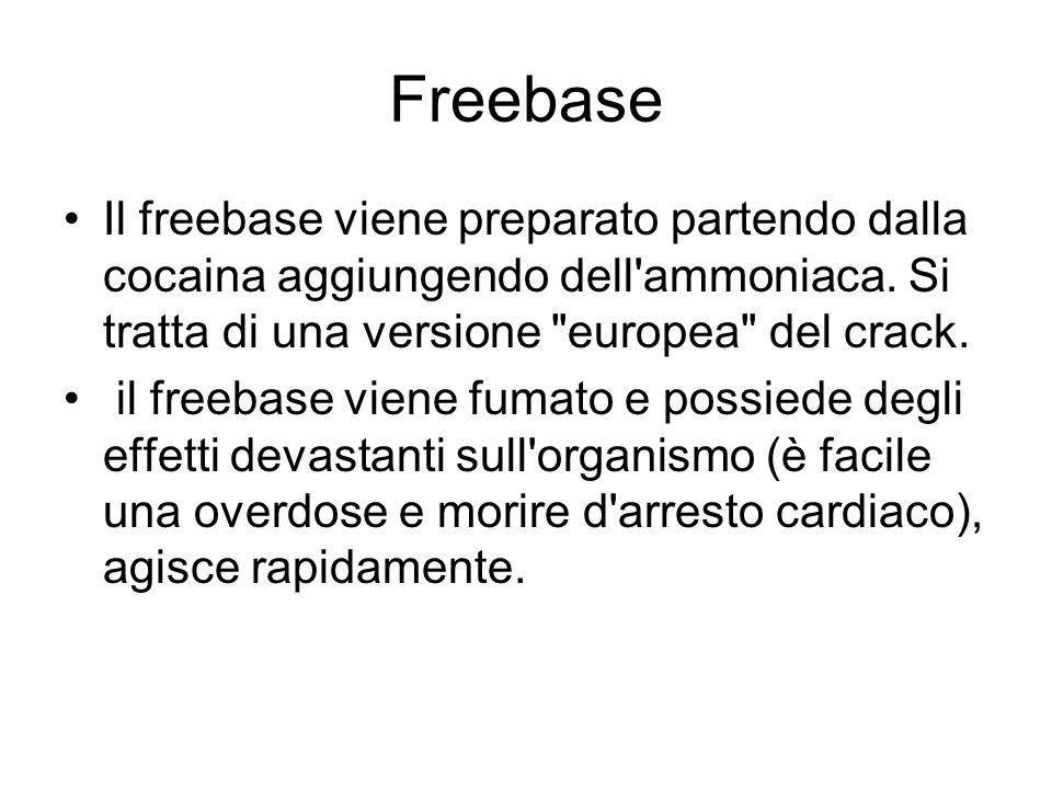 Freebase Il freebase viene preparato partendo dalla cocaina aggiungendo dell'ammoniaca. Si tratta di una versione