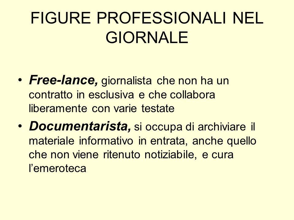 FIGURE PROFESSIONALI NEL GIORNALE Free-lance, giornalista che non ha un contratto in esclusiva e che collabora liberamente con varie testate Documenta