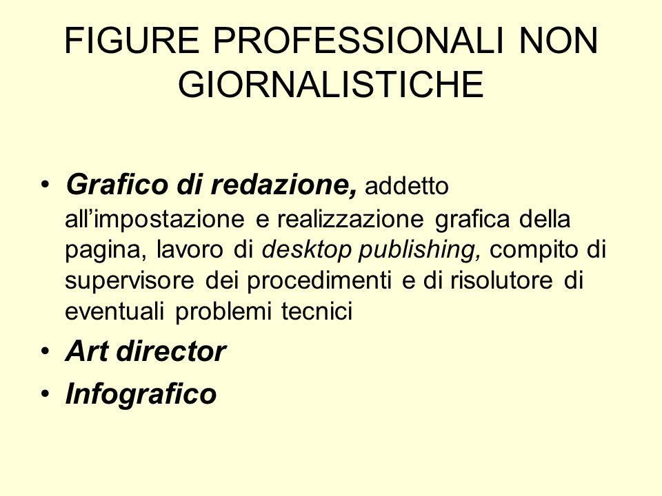 FIGURE PROFESSIONALI NON GIORNALISTICHE Grafico di redazione, addetto allimpostazione e realizzazione grafica della pagina, lavoro di desktop publishi