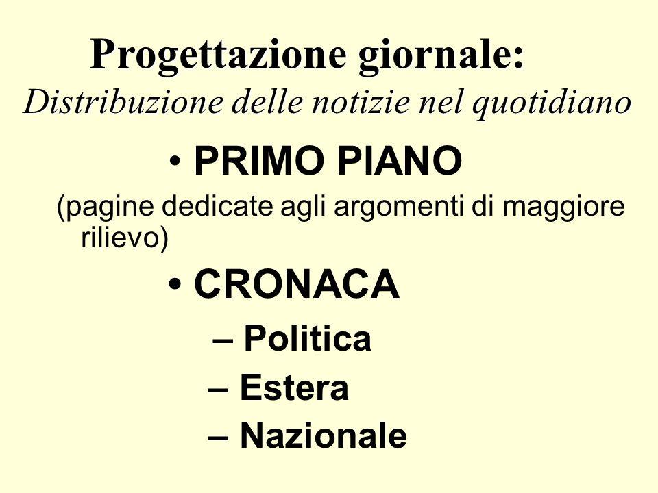 PRIMO PIANO (pagine dedicate agli argomenti di maggiore rilievo) CRONACA – Politica – Estera – Nazionale Progettazione giornale: Progettazione giornal