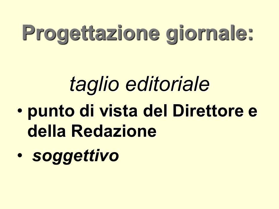 Progettazione giornale: taglio editoriale taglio editoriale punto di vista del Direttore e della Redazionepunto di vista del Direttore e della Redazio