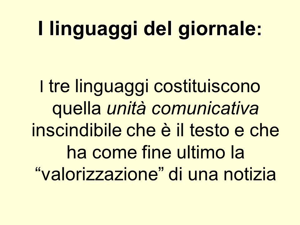 I linguaggi del giornale : I tre linguaggi costituiscono quella unità comunicativa inscindibile che è il testo e che ha come fine ultimo la valorizzaz