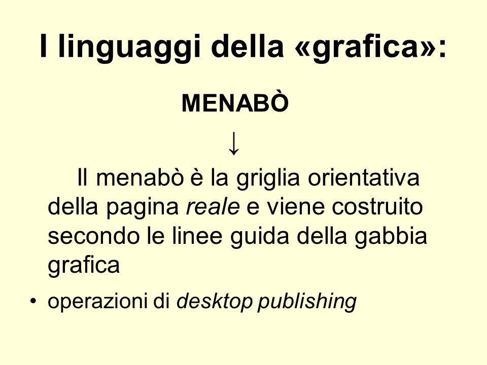 I linguaggi della «grafica»: MENABÒ Il menabò è la griglia orientativa della pagina reale e viene costruito secondo le linee guida della gabbia grafic