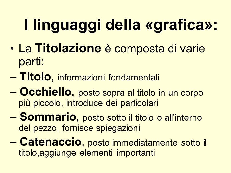 I linguaggi della «grafica»: La Titolazione è composta di varie parti: – Titolo, informazioni fondamentali – Occhiello, posto sopra al titolo in un co