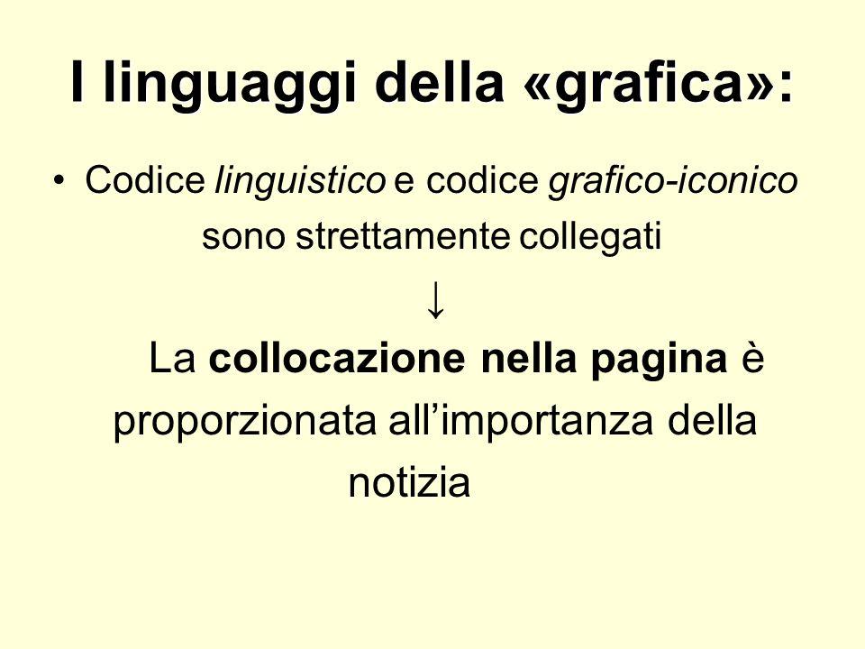 I linguaggi della «grafica»: Codice linguistico e codice grafico-iconico sono strettamente collegati La collocazione nella pagina è proporzionata alli