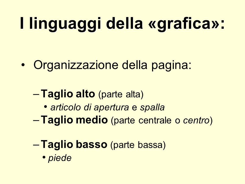 I linguaggi della «grafica»: Organizzazione della pagina: –Taglio alto (parte alta) articolo di apertura e spalla –Taglio medio (parte centrale o cent