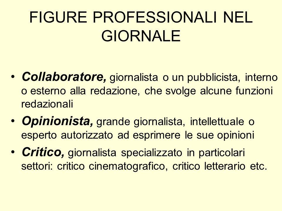 FIGURE PROFESSIONALI NEL GIORNALE Collaboratore, giornalista o un pubblicista, interno o esterno alla redazione, che svolge alcune funzioni redazional