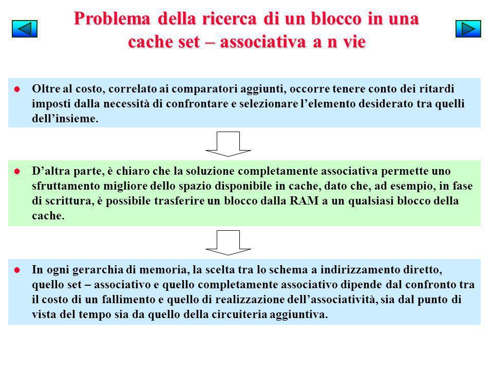 Problema della ricerca di un blocco in una cache set – associativa a n vie Oltre al costo, correlato ai comparatori aggiunti, occorre tenere conto dei