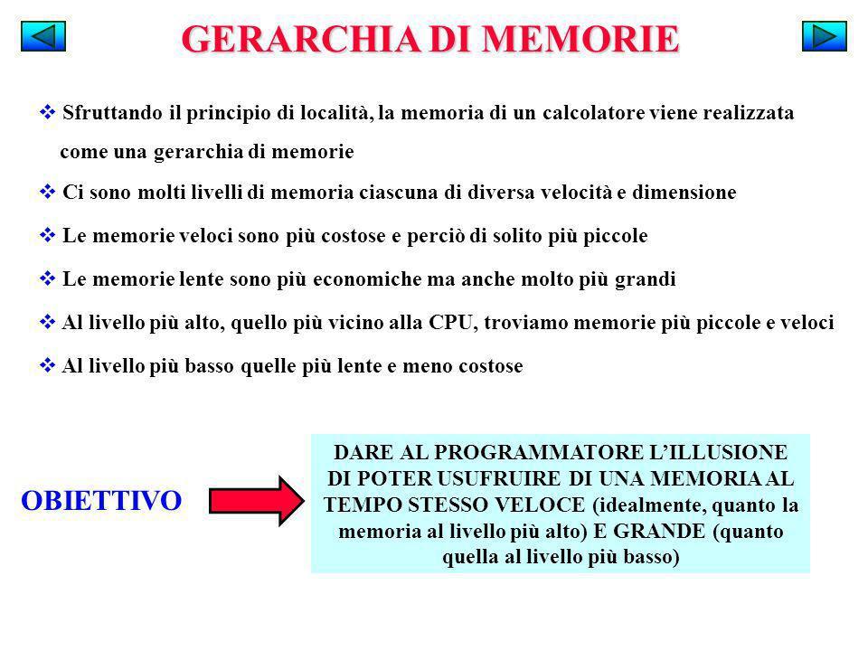 GERARCHIA DI MEMORIE Sfruttando il principio di località, la memoria di un calcolatore viene realizzata come una gerarchia di memorie OBIETTIVO DARE A
