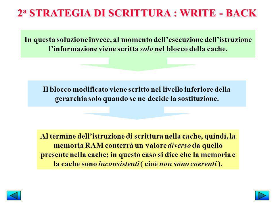 2 a STRATEGIA DI SCRITTURA : WRITE - BACK Al termine dellistruzione di scrittura nella cache, quindi, la memoria RAM conterrà un valore diverso da que