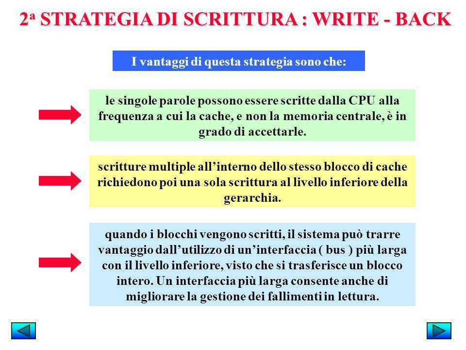 2 a STRATEGIA DI SCRITTURA : WRITE - BACK I vantaggi di questa strategia sono che: le singole parole possono essere scritte dalla CPU alla frequenza a