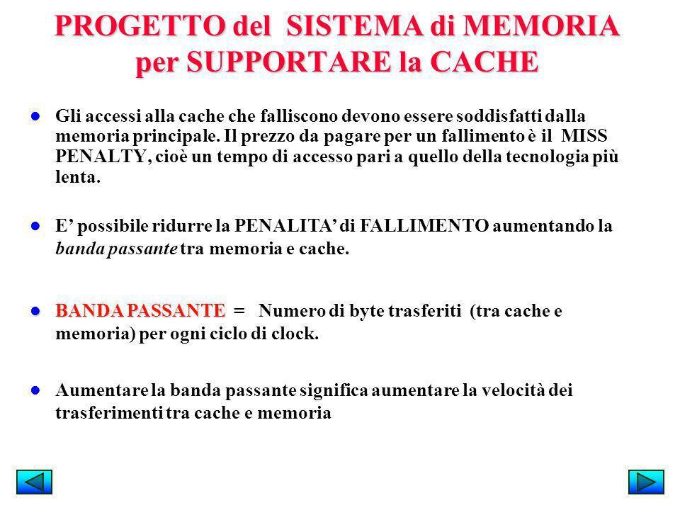 PROGETTO del SISTEMA di MEMORIA per SUPPORTARE la CACHE Gli accessi alla cache che falliscono devono essere soddisfatti dalla memoria principale. Il p